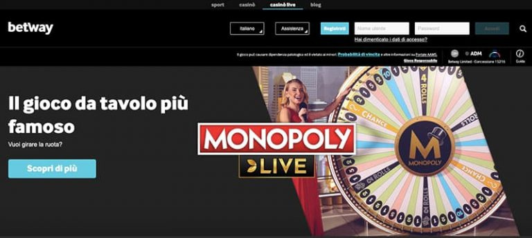 betway casino monopoly live